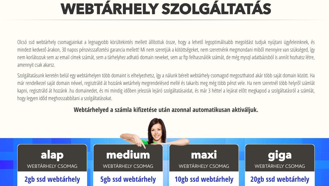 webtárhely csomagok